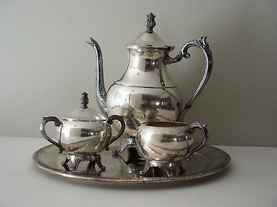 Vtg. FB Rogers Silver Co Trademark 1883 Tray Coffee Tea Pot Sugar Bowl & Creamer