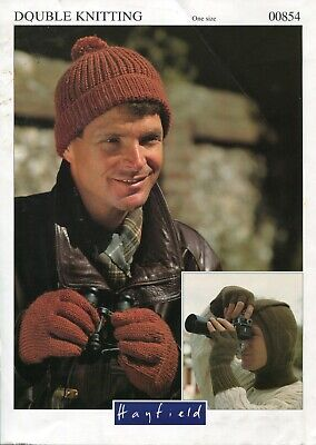 Hayfield 00854 Men Hat Balaclava Gloves DK One Size Vintage Knitting Pattern