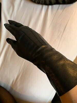 Vintage 1950s Black Gloves Fine 100% Leather Small Excellent Condition
