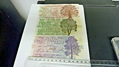 3- Lithuanian Bank Notes Issued 1991 - Olympic Sports-  Unused