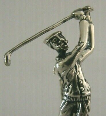 QUALITY SOLID STERLING SILVER MINIATURE GOLFER GOLFING FIGURE c1990