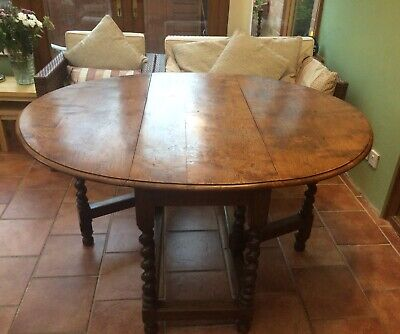 Solid Oak  Oval dining table , Gateleg , Barley twist design.