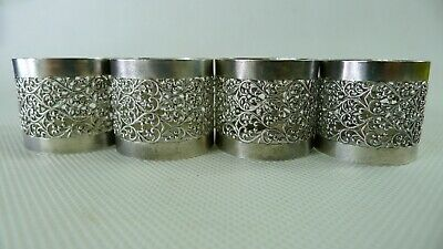 Four Rare Silver 925 (Sterling Silver) Napkin Rings 1950's Israel Filigree Made