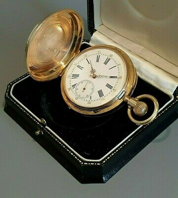 Alte Antike 3Deckel Taschenuhr Savonette 14K 0,585 Gold old pocket watch Antique