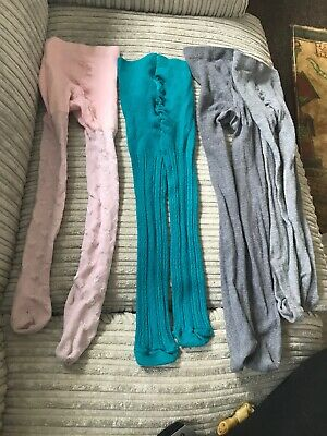 4x Girls Tights Age 5-6 Years Next Pink Hearts M&S Green + School Grey