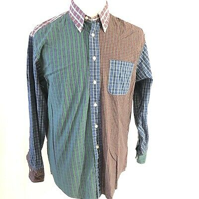 Brooks Brothers mens Medium Multi Color Plaid Pattern Cut and Sew Shirt