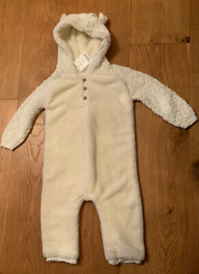 Bnwt Next Baby Boys /Girls Cream Fleece & Knit Romper All In One - 9 - 12 Months