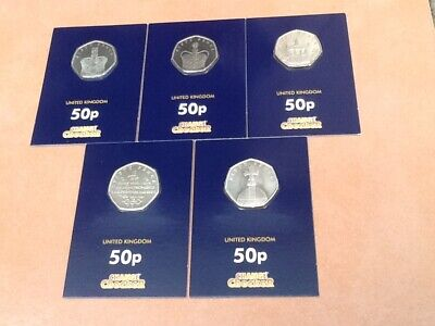 RARE CHANGE CHECKER ISLE OF MAN SET OF SAPPHIRE CORONATION 5 x 50P COINS 2018