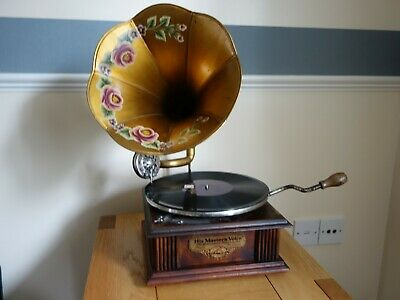 A Genuine HMV Antique Gramophone With Horn, Working Order