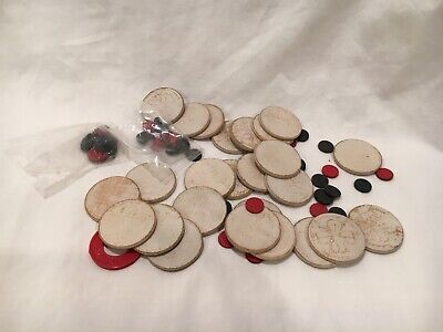"""Mixed Lot of Game Chips White Poker Chips, small """"button"""" black and White Chips"""