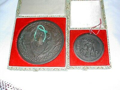 2 Chinese Bronze Mirrors in Original Boxes