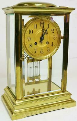 Antique 19thC French 8 Day Striking Classic 4 Glass Regulator Table Mantel Clock