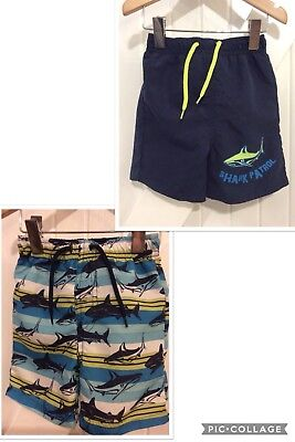 Baby Boy 6-9 Months Swimming Shorts 2 pairs Shark Print & Blues