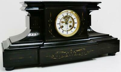 Large Antique French 8 Day Bell Striking Slate & Engraved Decorated Mantel Clock