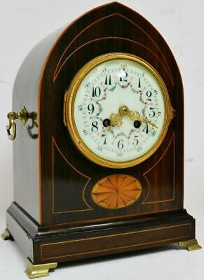 Beautiful Antique French 8 Day Striking Lancet Top Inlaid Mahogany Mantel Clock