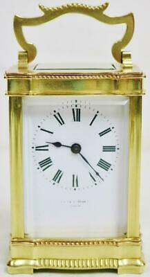 Amazing Antique French 8 Day Bronze Ormolu Decoration Timepiece Carriage Clock