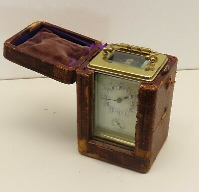 Carriage clock with alarm and case late 1800s