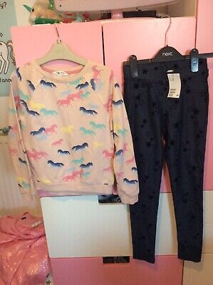 Girls H&M Funky Top & Leggings Outfit Set Aged 9-10 bnwt