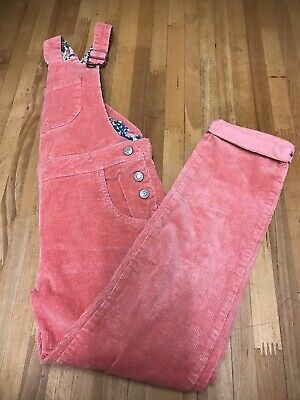 Mini Boden Girls Pink Cord Dungarees Age 7/8 Years NEW