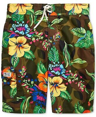 NWT Ralph Lauren Polo Boys Kailua Floral Print Swim Trunks Shorts