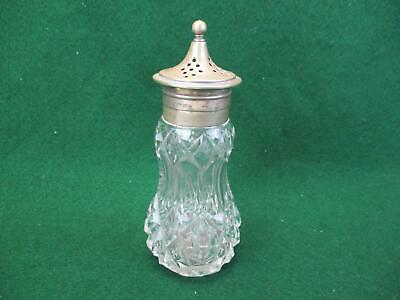Vintage sugar shaker cut crystal glass and silver plated top