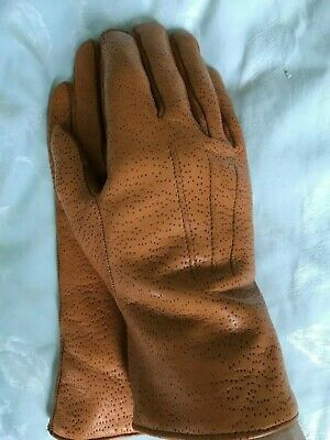 Unisex tan brown fur lined leather gloves size 8