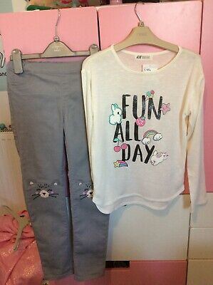 H&M Girls Top And Jeggings Set Outfit Age 8-10 Excellent Condition