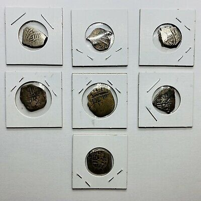 Coin Lot of 7 Silver Spanish Real Cobs - 1600's - Mixed Colonial Mints