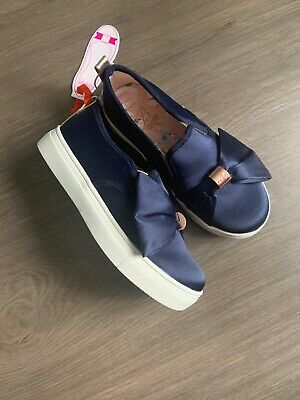 New Ted Baker Girls Navy Satin Shoes Trainers Sneakers Size UK 8 EU25