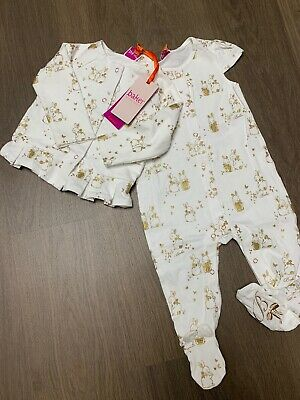New Ted Baker Baby Girls 2pcs Sleepsuit Jacket Outfit Set Size 0-3 Months