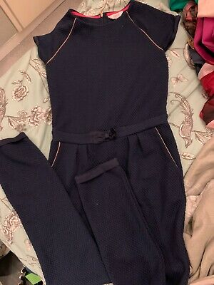 Girls Ted Baker Jumpsuit Age 11-12 Navy Blue With Rose Gold Piping Excellent Con