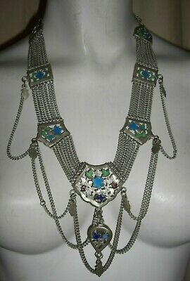 RARE Antique Egyptian Revival Silver Tone Enamel Festoon Statement Necklace