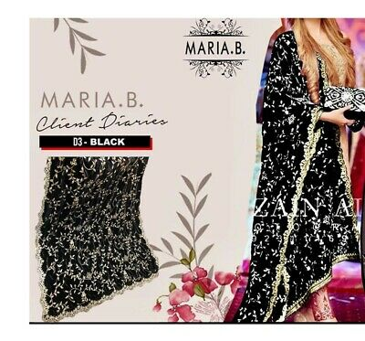 Maria B Inspired Embroidered Velvet Shawl Black and Gold