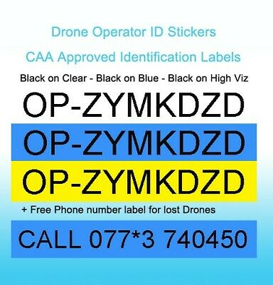 Drone Operator ID & Flyer ID Stickers Civil Aviation Authority (CAA) approved