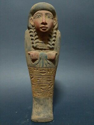 ANCIENT EGYPTIAN ANTIQUES USHABTI STATUE With HIEROGLYPHICS Servant Minions BC