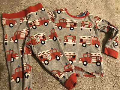 Marks & Spencer M&S Grey Fire Engines Red Pyjamas Pjs 12-18 Months Scandi-esque