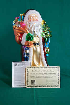 THOMAS PACCONI SANTA - 17 INCH BLOWN GLASS FIGURINE w/WOODEN STAND - NEW