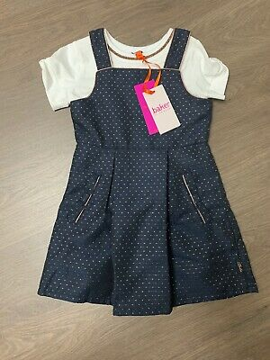 New Ted Baker Girls Dress With Top Set Outfit Pinafore Size 3-4 Years