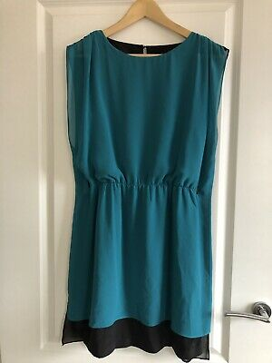 Warehouse Block Colour Teal and Black Dress Chiffon Flow Short sleeve in Size 10