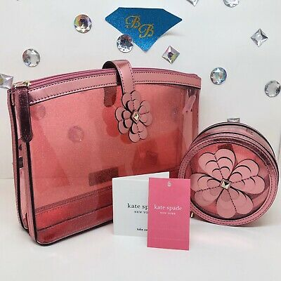 Kate Spade Sabine Pink Glitter Double Compartment Cosmetic Bag + Round Case Set!