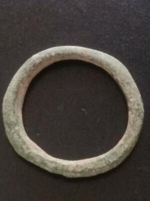 Large 27mm Genuine Ancient CELTIC Bronze Ring Money ~600 BC Sandy Patina #27