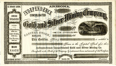 c. 1864 Arizona Independence Gold & Silver Mining Co. Stock Certificate