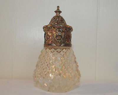 Vintage Lion Syrup Honey Decanter Silver Plate Silverplate Diamond Crystal
