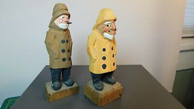 2- Vtg. Hand Carved & Painted Wood Fishermen Nautical Sailor Figurines