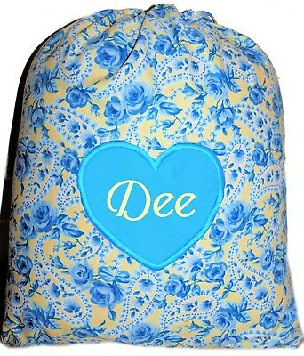 Kids Personalised Drawstring Library - Vintage Blue Roses - First name FREE