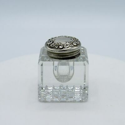 Antique Beveled Cut Glass Inkwell with Sterling Silver Top, NR