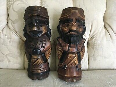 Vintage Japanese Kokeshi Ainu Hand Carved Wood Men Bookends 9 1/4""