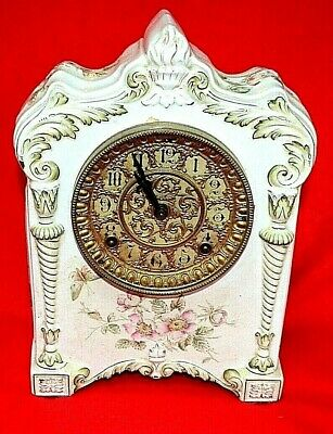 "Antique Porcelain Ansonia Mantel Clock Fancy Grill Face "" Winona"" Runs Great"