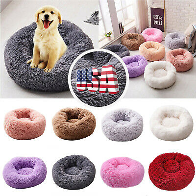 Pet Dog Cat Kennel Calming Bed Round Nest Warm Soft Plush Dog Sleeping Bed US