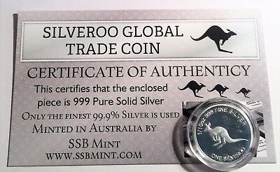 One SILVEROO Global Trade Coin 1/10th Oz 99.9% Solid Silver Certificate supplied